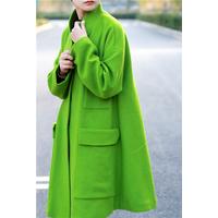 琴哩****自制2015秋冬新款羊绒大衣女中长款绿色羊毛呢外套