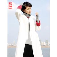 琴哩原创设计2015秋冬气质文艺范风衣 棉麻中长款外套女修身