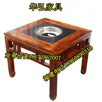 火锅店火锅桌椅批发定做古铜色火锅餐桌椅缩略图