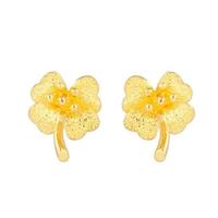黄金耳钉 砂花朵黄金耳钉