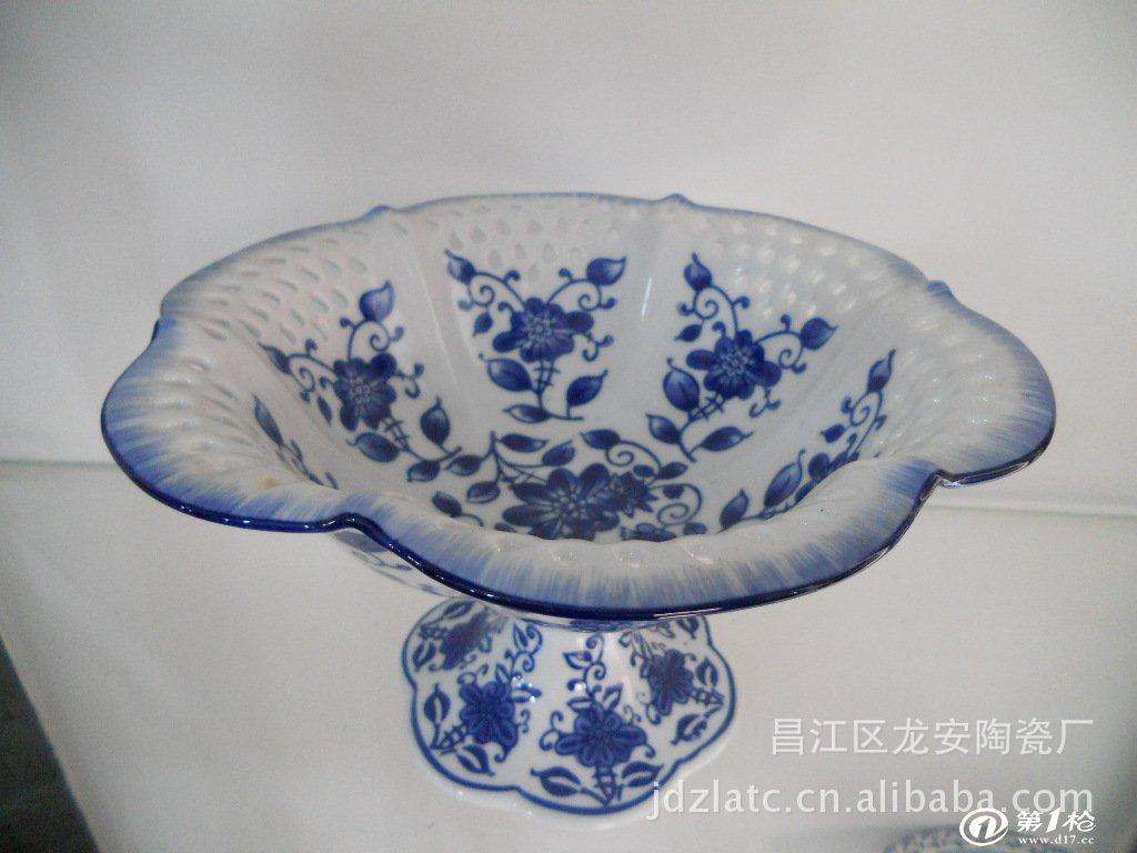 景德镇手绘陶瓷果盘 青花瓷陶瓷高脚果盘_碗,碟,盘,盆