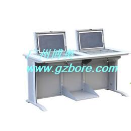 博奥BR004二人位液晶屏翻转电脑桌天津电教室学生电脑翻转桌