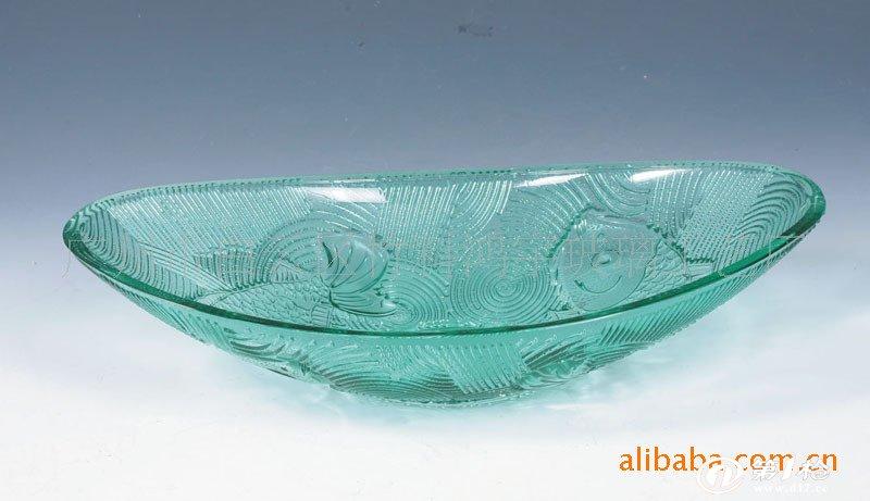 厂家批发不同花纹彩色工艺玻璃果盘