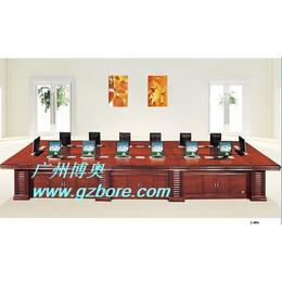 供应钢木定制桌面显示器隐藏升降会议桌