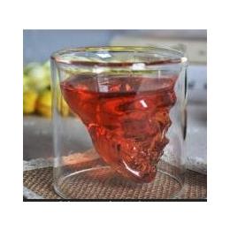 耐热玻璃茶具套装创意礼品水晶骷髅啤酒杯透明双层杯<em>红</em><em>酒杯</em><em>子</em>加厚