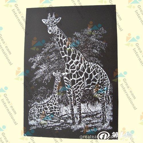 供应欧美热销刮画纸;动物,植物diy刮刮画