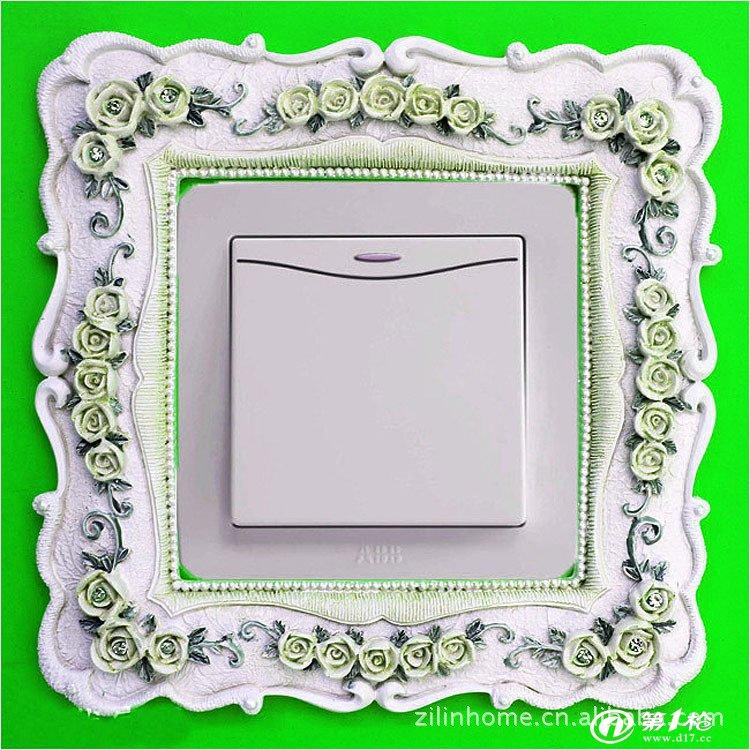 相框,相架 高档典雅创意欧式英伦风树脂开关套工艺品立体开关贴树脂开