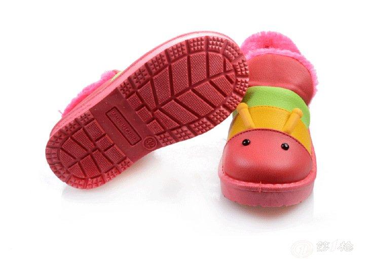 新款儿童pu雪地靴 卡通毛毛虫棉鞋 彩条毛绒可爱雪地靴小童 批发