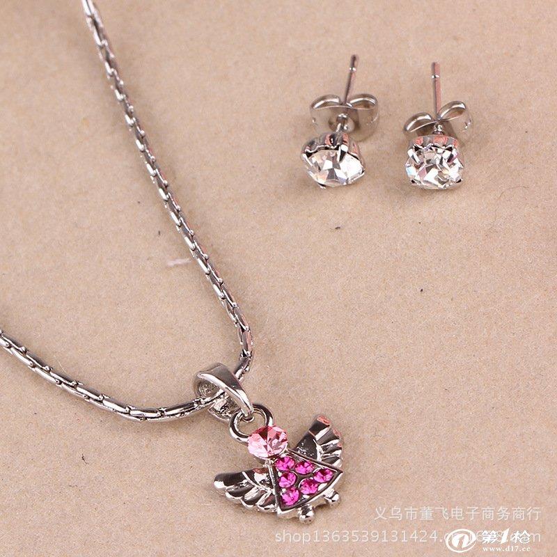 韩国可爱首饰 小熊项链耳环 套装批发 礼品工艺品 时尚个性项链