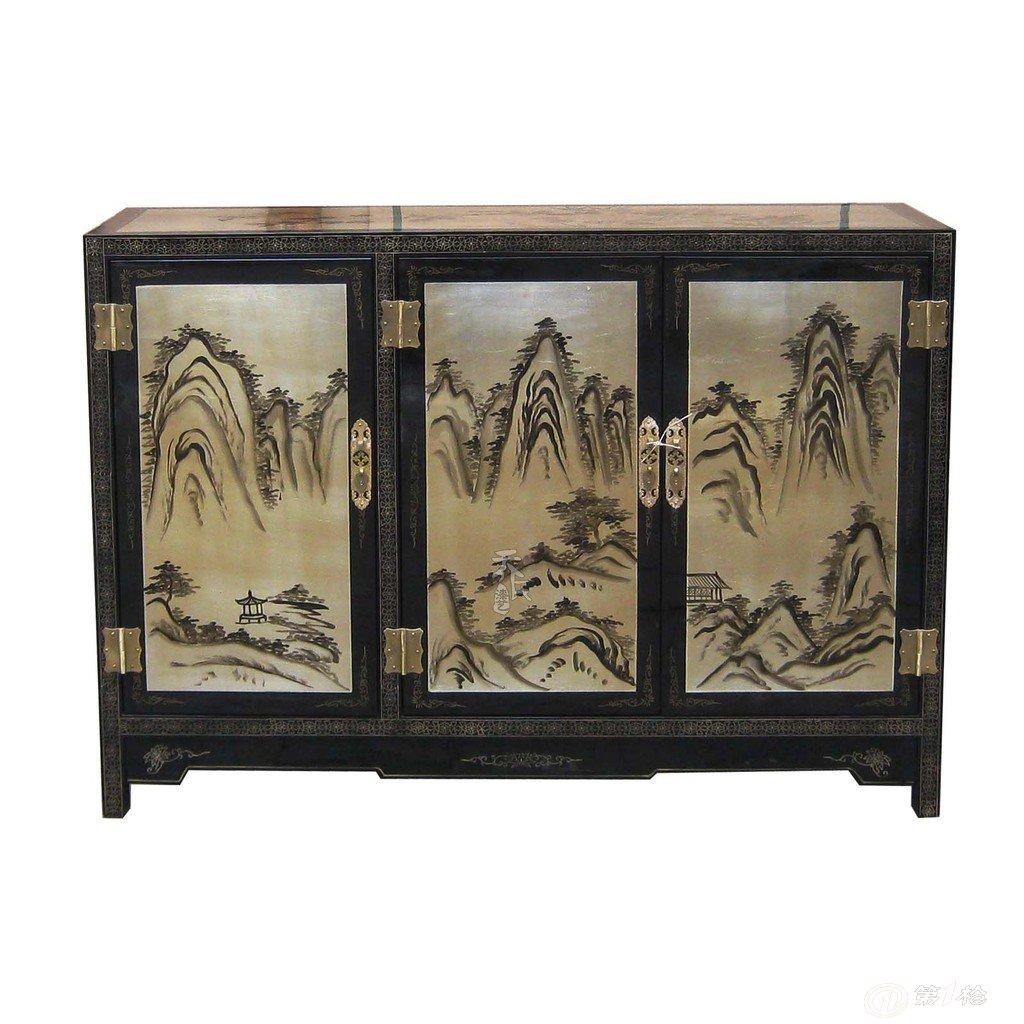 平遥漆器家具实木古典中式手绘装饰仿古木柜储物柜电话柜门厅柜