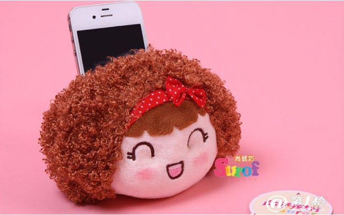 创意动物卡通车载手机底座毛绒玩具布娃娃手机座 情侣