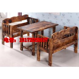 华久庆防腐实木碳化色户外休闲实木桌椅庭院阳台咖啡桌椅组合酒店缩略图