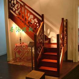 普洛瑞斯折线式实木楼梯 品牌楼梯价格 中式复古
