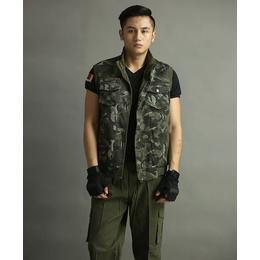 新款户外休闲服战术马甲男套装迷彩服运动马甲