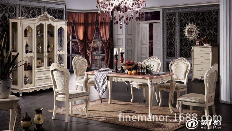 厂价供应大理石餐桌 实木雕花欧式美式餐桌