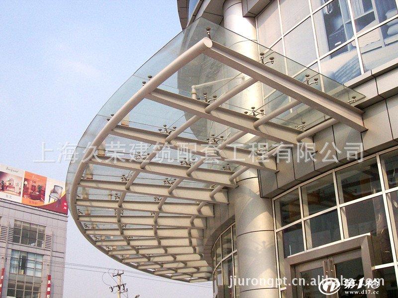 厂家直销 专业生产 玻璃雨棚 钢结构雨棚 商务楼门头雨棚
