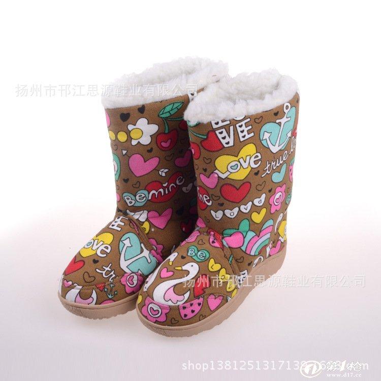 厂家直销 冬季花纹雪地靴 时尚中筒保暖雪地靴 批发