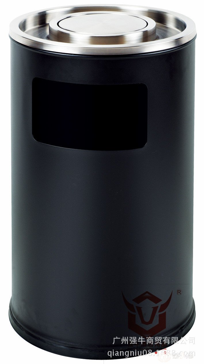 圆形座地烟灰桶 摇盖垃圾桶 商场果皮箱 不锈钢大号圆桶