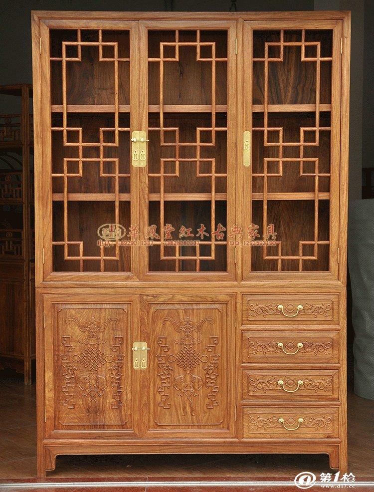 专业供应古典红木家具新会书柜 三门明式雕花书柜 仿古书柜 d-025