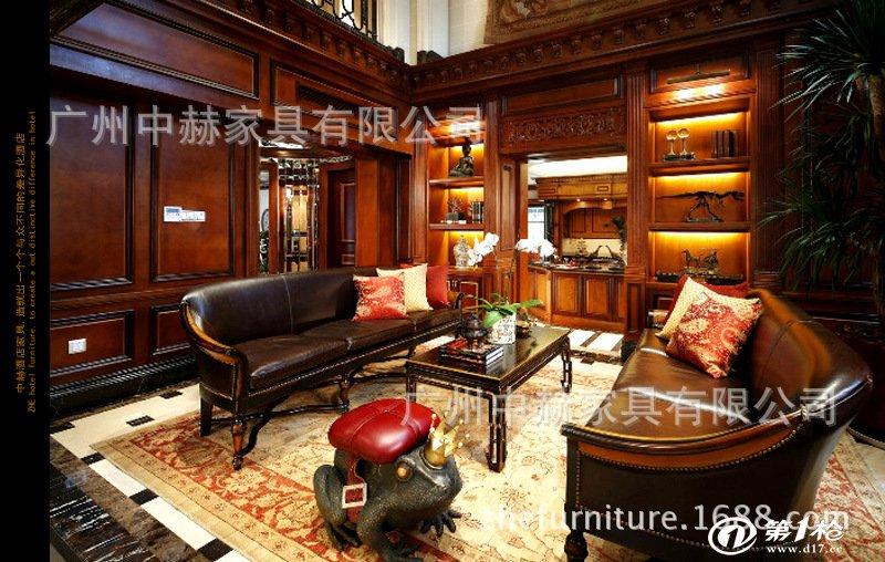 专业定制精湛工艺雕琢欧式原木书柜 整体实木组合书柜