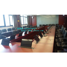 供应哈尔滨实木培训室自动显示器升降会议桌