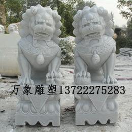 青石汉白玉精雕高30厘米石狮子一对