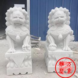青石汉白玉晚霞红精雕高120厘米石狮子一对