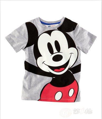 【童装批发】2013夏季新款 可爱米老鼠男童t恤 2色任选