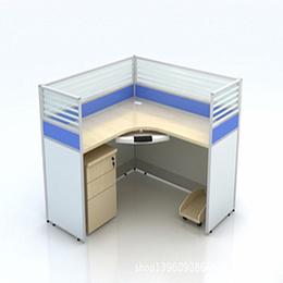 L型单人办公桌 带屏风 定制销售