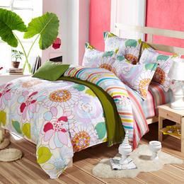 厂家直销活性印花优质纯棉被套床单全棉四件套 全棉磨毛4件套