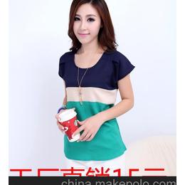 2013夏季新款女装 韩版宽松超凉爽麻纱上衣撞色圆领女式短袖T恤