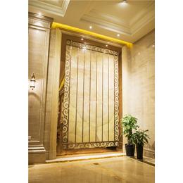 拉丝玫瑰金不锈钢激光花格墙面装饰