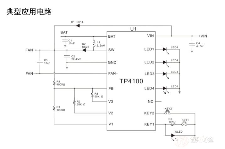 TP4100 是一款专为便携式 USB 充电风扇设计的单芯片解 决方案,内部集成了充电管理模块、升压管理模块、保护模 块、按键控制以及档位指示模块。 TP4100 固定充电电流为 0.8A,输出电压为 4.5V~12V,3 档位工作模式,支持一档最大或一档最小可选模式。 TP4100 内部集成了恒温充电工作模式、过温保护、过充与 过放保护、输出过压保护、输出短路保护等安全保护功能 以保证芯片和锂离子电池的安全,同时 TP4100 应用电路简 单,只需很少元件便可实现便携式充电风扇完整方案。 特点  充电电