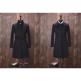 YW-01W款秋冬呢子大衣 中长款毛呢外套 修身腰带风衣