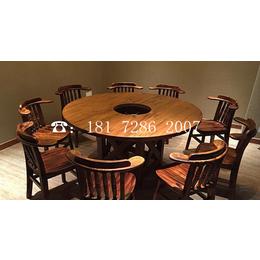 实木碳化木复古八边角桌圆方形无烟火锅底桌椅连锁餐饮家具定制