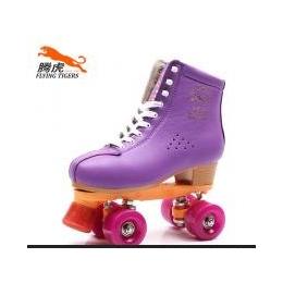 腾虎S520紫色双排花样休闲溜冰鞋旱冰鞋头层牛皮