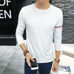 男士T恤时尚创意印花青年装纯棉圆领长袖t恤男休闲新款打底衫批