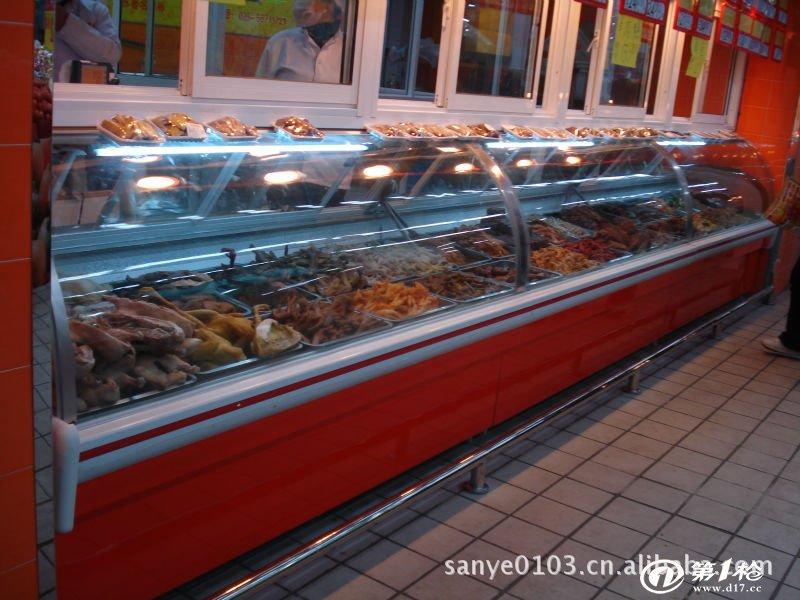 注:可根据需要订做加长型 ------------------------------------------------------------- 同类产品推荐:  B型鲜肉柜特点: 开放式销售方式,时尚,方便,展示效果好,尤其适用于现场加工,保鲜和销售鲜肉食品。 选用进口压缩机,微孔式出风,冷气均匀分布,柜内温度稳定,食品不风干。柜内采用不锈钢材料,耐腐蚀、易清洁,使用方便,且不污染食品。 人性化设计,可选择任意拼接(机组外置)或单台整机式(豪华、标准型可随意选择) 坚固牢靠的钢架基础,加上粉末