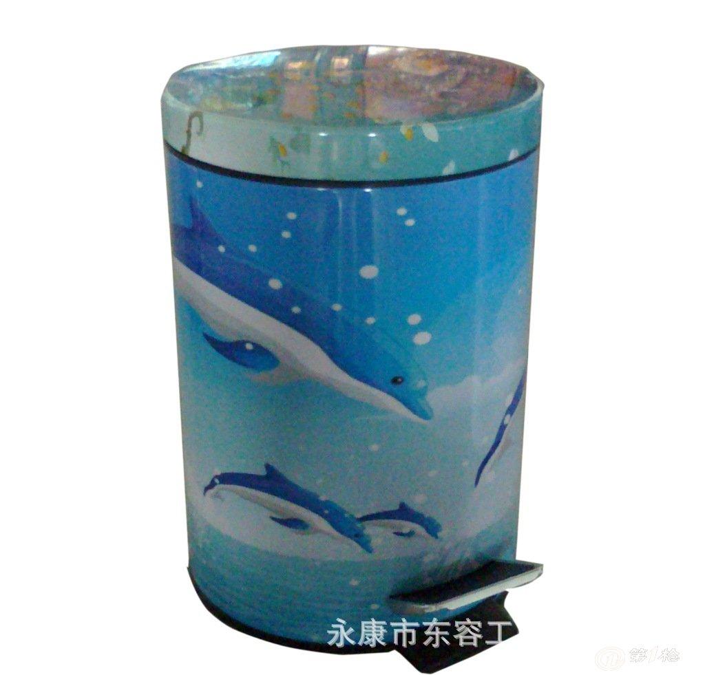 大量供应批发彩色海洋鱼8l客厅脚踏式垃圾桶外贸出口