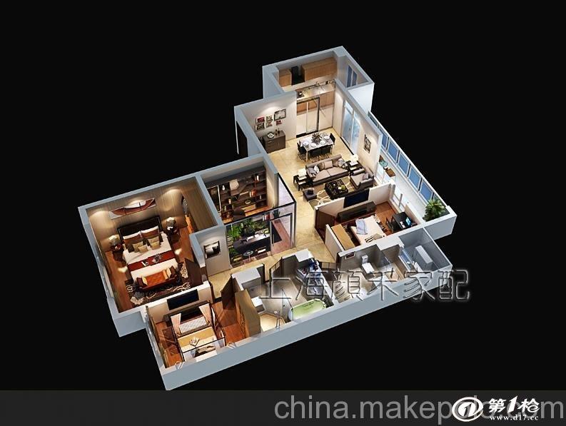 供应上海颜禾三维户型效果图设计制作,户型图渲染,家配图制作