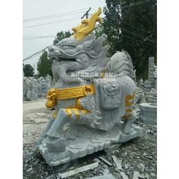 青石麒麟楼兰雕塑描金石雕麒麟