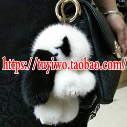 批发大号水貂毛小兔子正版毛绒装死兔萌萌兔包包挂件钥匙扣