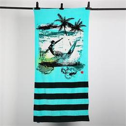厂家供应 山东 迎春雨纯棉沙滩巾 割绒活性印花 来样加工
