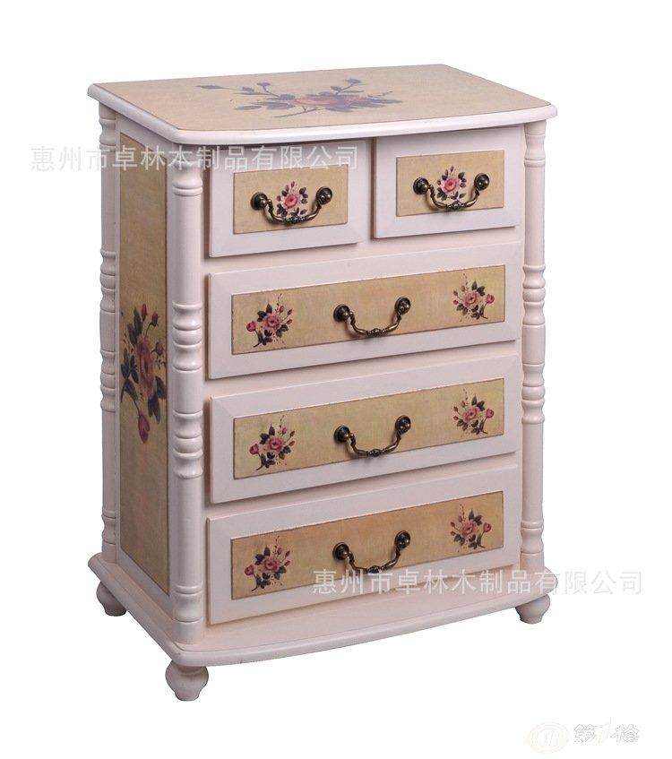 五抽床头柜 储物柜欧式田园风 纯白油漆洗白玫瑰图案厂家直销柜子