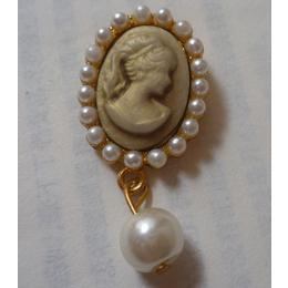 厂家直销镶珠树脂美人头胸针