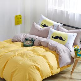 厂家批发全棉时尚素色双拼四件套纯色床单被套简约4件套床品特价