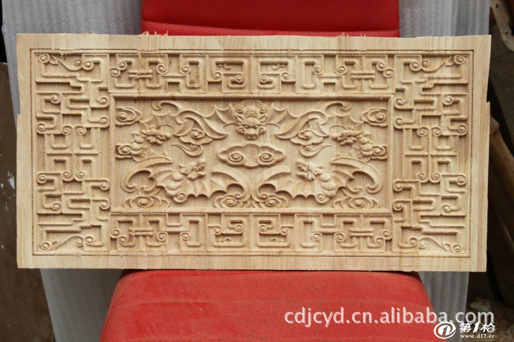 来料加工半手工半机械制作木雕工艺五福捧寿壁画