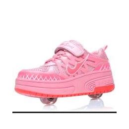 隐形滑盖双轮暴走鞋批发 夏透气网面 厂家直销旱冰鞋 滑轮鞋代发