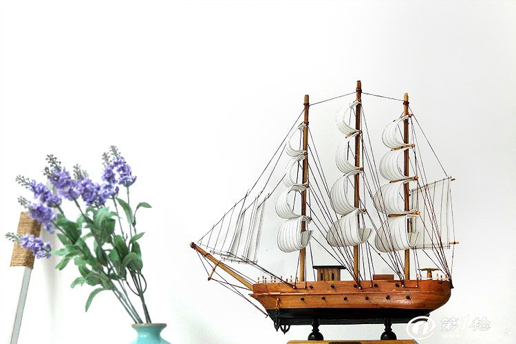 厂家直销33cm地中海风格 木制帆船模型 实木船模型一帆风顺摆件