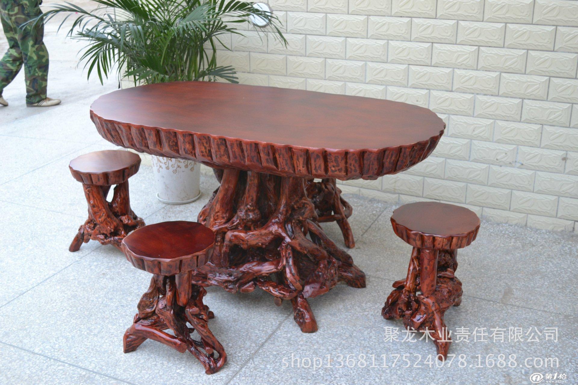 实木根雕茶台/餐桌/田园茶几/原木平桌/杜鹃根长圆桌